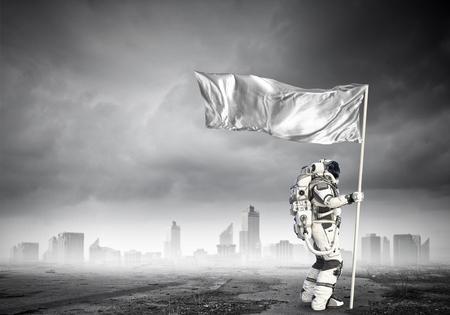 Pioneer of space. Mixed media