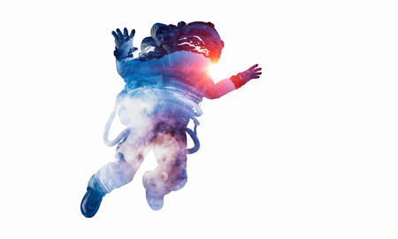 Spaceman on white. Mixed media