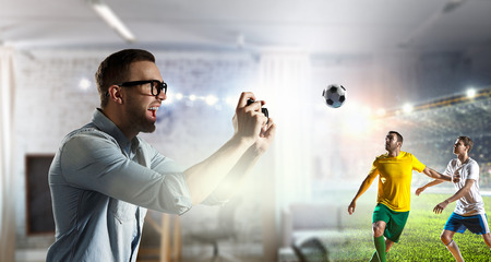 Gamer guy having fun. Mixed media