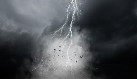 Lightning in gray sky. Mixed media