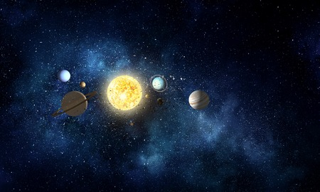 System of planets . Mixed media Stock Photo
