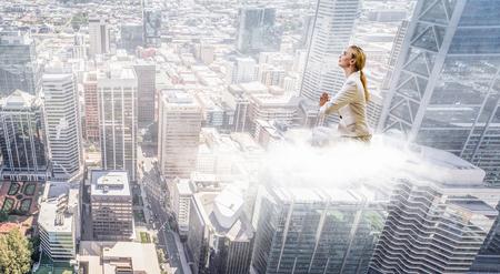 Woman float above city