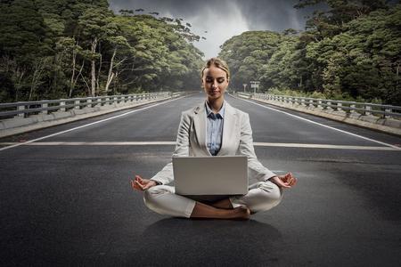 Finding inner balance. Mixed media Stock Photo