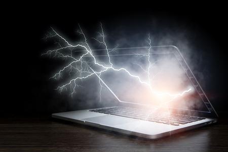 Laptop problem or break. Mixed media