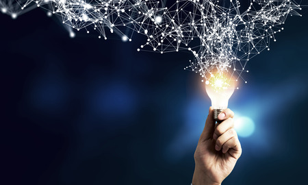 Human hand and light bulb with connection concept. 3d rendering