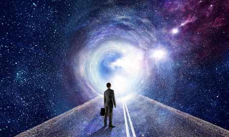 Businessman and cosmos concept Banco de Imagens