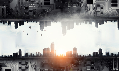 Modern cityscape and technology concept Banco de Imagens