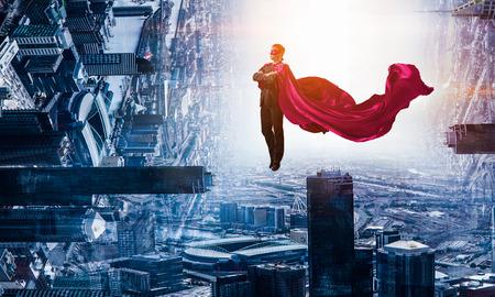 Super man in sky 版權商用圖片