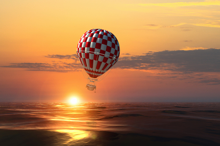 Air balloon over water. Mixed media Stock Photo - 109264895