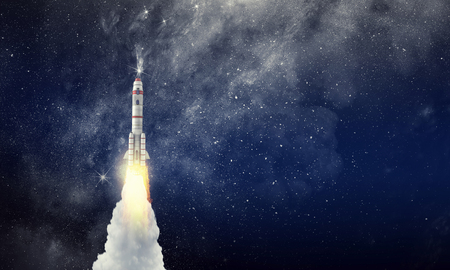 Nave espacial cohete. Técnica mixta Foto de archivo