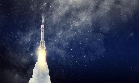 Vaisseau spatial de fusée. Technique mixte Banque d'images