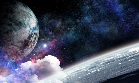Pluto planet. Mixed media