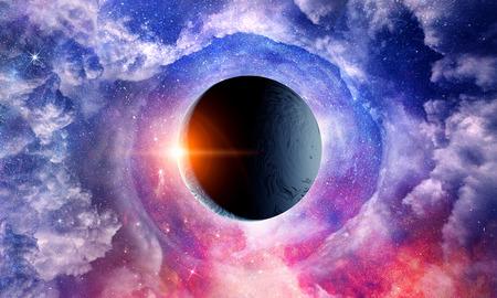 Weltraumplaneten und Nebel Standard-Bild