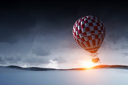 Air balloon over water. Mixed media Stock Photo - 110786737