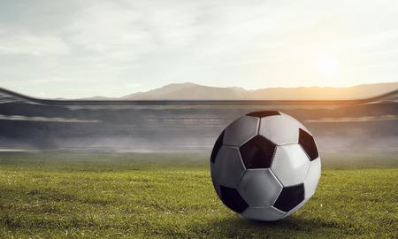 Soccer game concept. Mixed media Stock Photo - 111049636