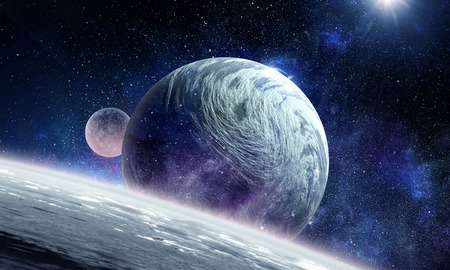 Planeta Plutón. Técnica mixta