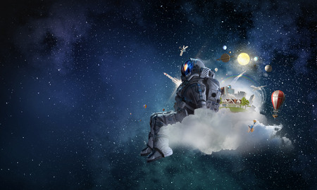 Space fantasy image with astronaut. Mixed media 免版税图像