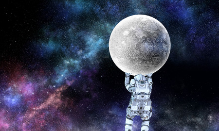 Spaceman carry big planet. Mixed media