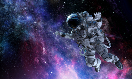 Astronaut on space mission. Mixed media