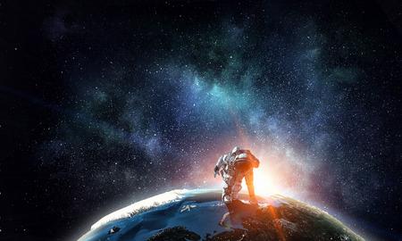 Spaceman running fast. Mixed media Stock fotó