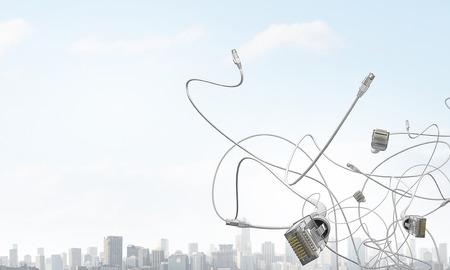 Internet connection cable. Mixed media Archivio Fotografico - 110985705