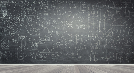 Chalkboard with formulas Banque d'images