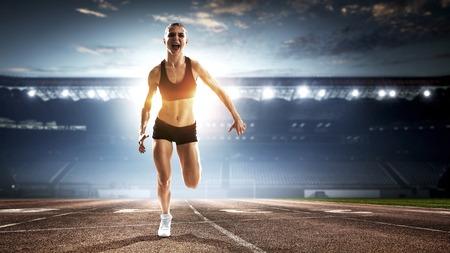 Athlete running race. Mixed media Banco de Imagens - 111051594