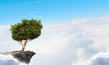Lonely tree on rock top. Mixed media Archivio Fotografico - 111508292