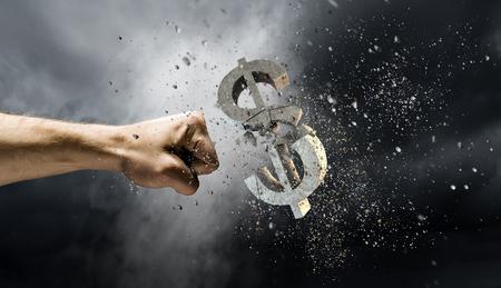 Caída de la moneda del dólar. Técnica mixta Foto de archivo