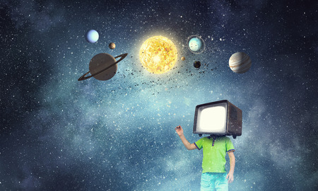TV addicted children. Mixed media 스톡 콘텐츠 - 111591209