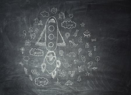 Chalkboard with formulas Banco de Imagens - 111506760