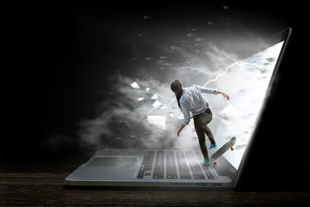 Surfing the Internet. Mixed media Standard-Bild - 111508781