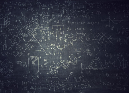 Chalkboard with formulas Banco de Imagens - 111750082