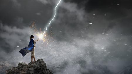 Super woman in sky. Mixed media Banco de Imagens - 111864618