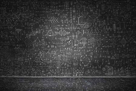 Chalkboard with formulas Imagens