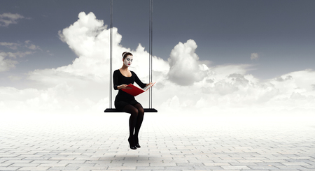 Young woman mime. Mixed media Stock Photo - 112600427