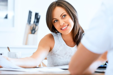 Beautiful young woman laughing portrait Stock Photo