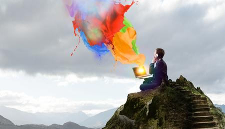 Finding inner balance. Mixed media Standard-Bild