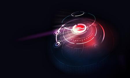 Futuristic round user interface on dark background Standard-Bild