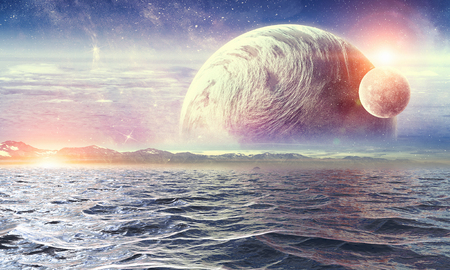 Fantasy image with space planets and sea waters. Banco de Imagens