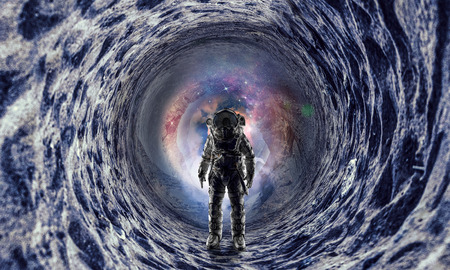 Space fantasy image with astronaut. Mixed media Stock fotó