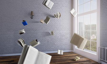 Welt der Bücher. Gemischte Medien Standard-Bild