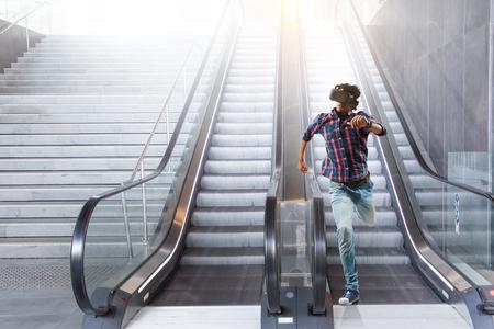 Try virtual reality. Mixed media Stock Photo