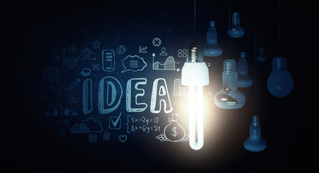 Bright idea in darkness 스톡 콘텐츠