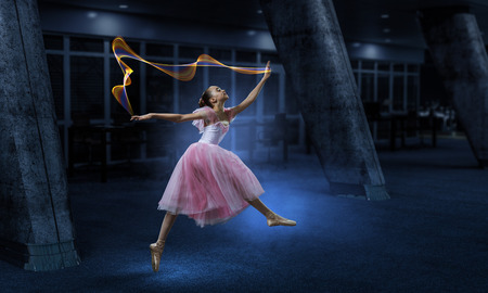Dreaming to become ballerina. Mixed media Stockfoto