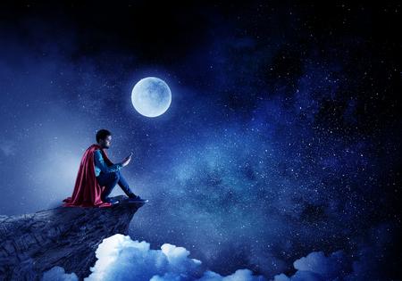 Super hero alone. Mixed media