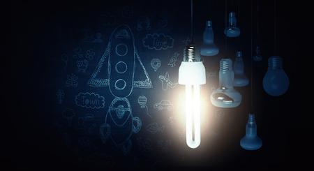 Bright idea in darkness Stok Fotoğraf