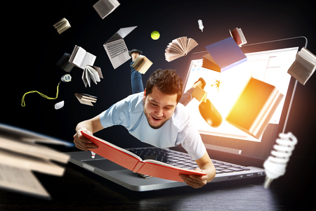 Reading as self education. Mixed media 스톡 콘텐츠