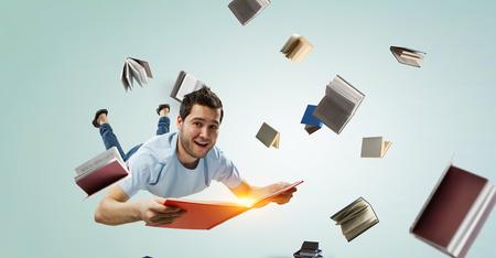Reading as self education. Mixed media Banco de Imagens