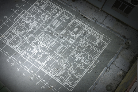 Architecture blueprint background. Mixed media